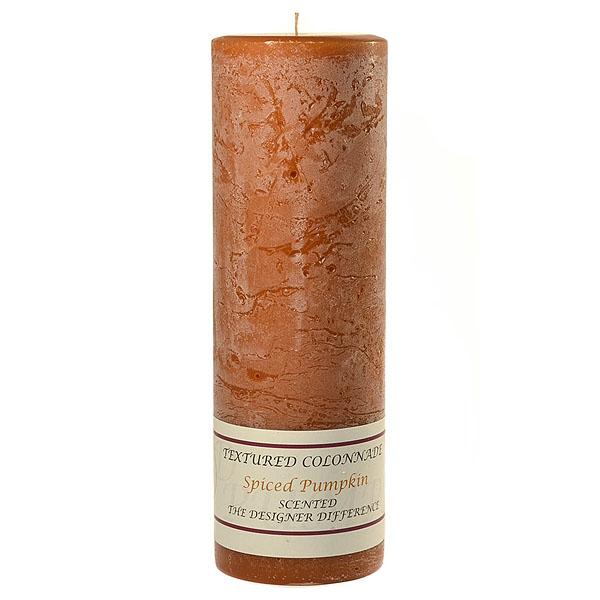 Textured 3x9 Spiced Pumpkin Pillar Candles