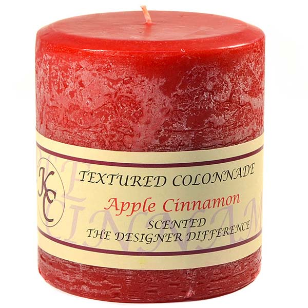 Textured 4x4 Apple Cinnamon Pillar Candles