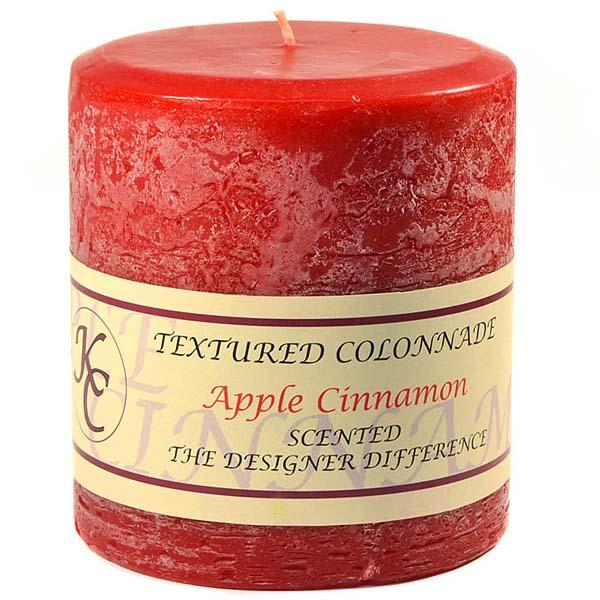 Textured 4x4 Apple Cinnamon Pillar Candles