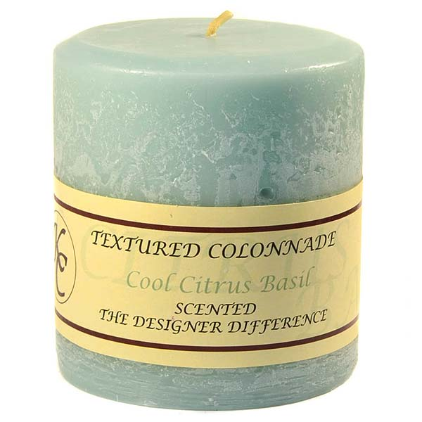 Textured 4x4 Cool Citrus Basil Pillar Candles