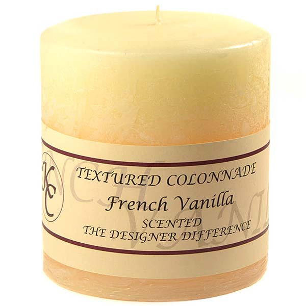 Textured 4x4 French Vanilla Pillar Candles
