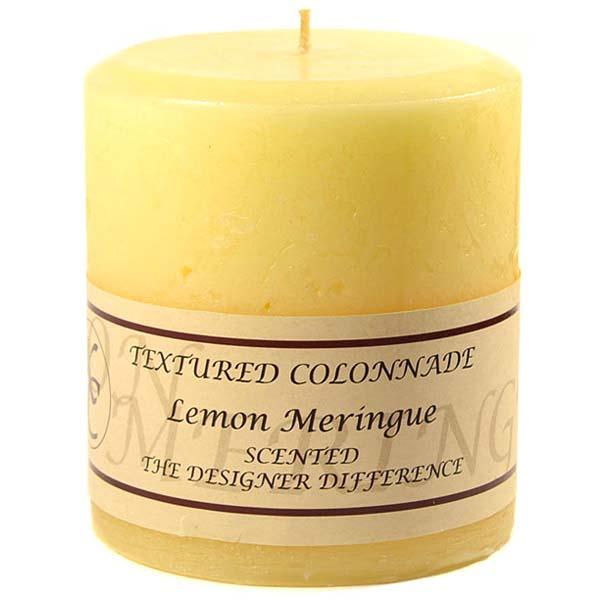 Textured 4x4 Lemon Meringue Pillar Candles