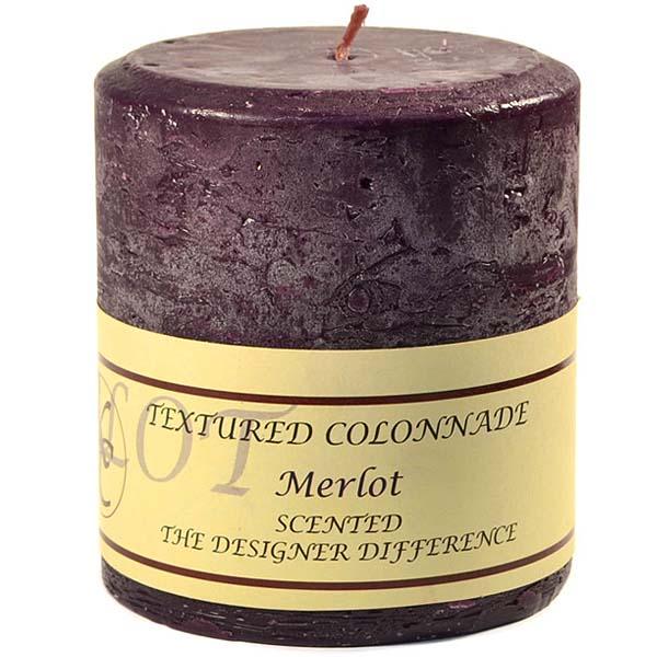 Textured 4x4 Merlot Pillar Candles