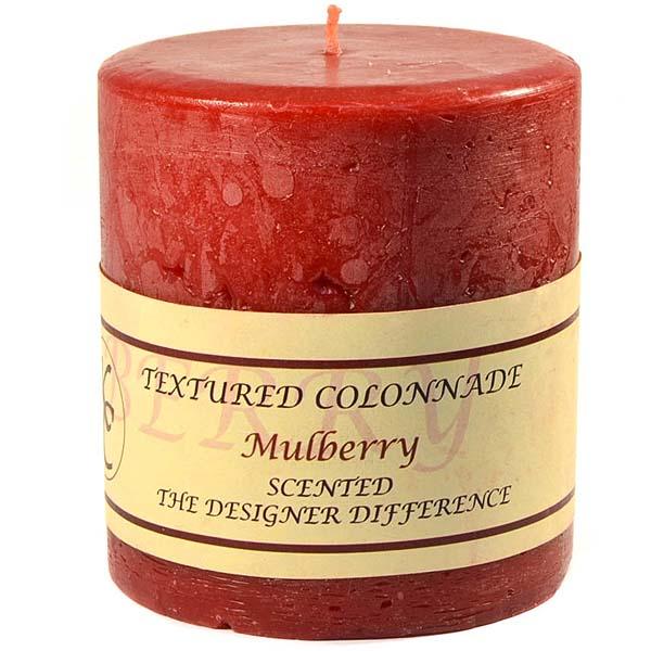 Textured 4x4 Mulberry Pillar Candles