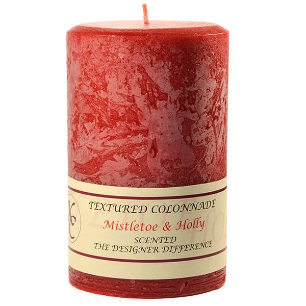 Textured 4x6 Mistletoe and Holly Pillar Candles