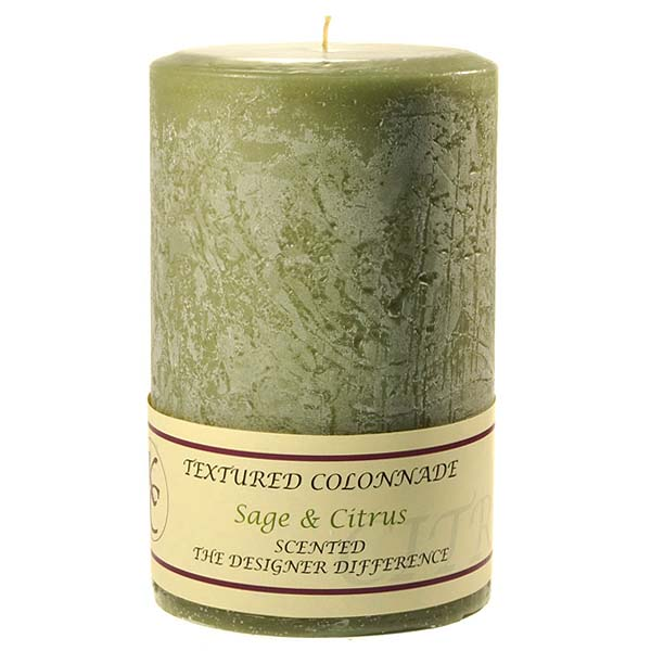 Textured 4x6 Sage and Citrus Pillar Candles