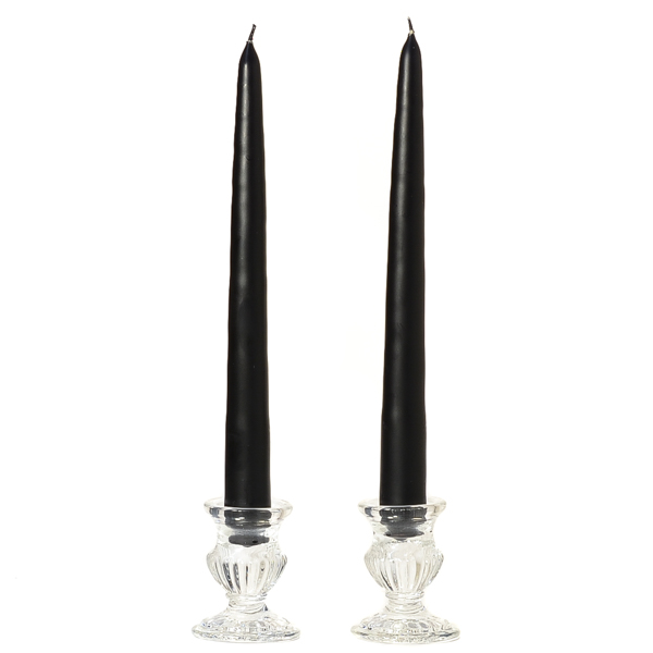 Unscented 12 Inch Black Tapers Pair