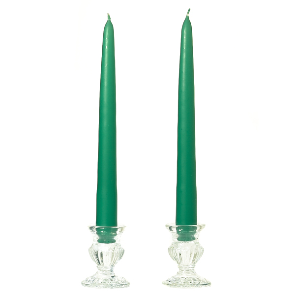 Unscented 15 Inch Forest Green Tapers Dozen