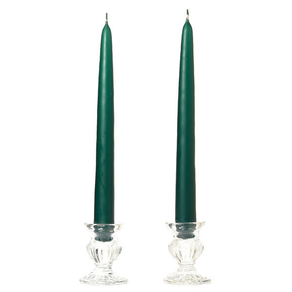 Unscented 15 Inch Hunter Green Tapers Dozen
