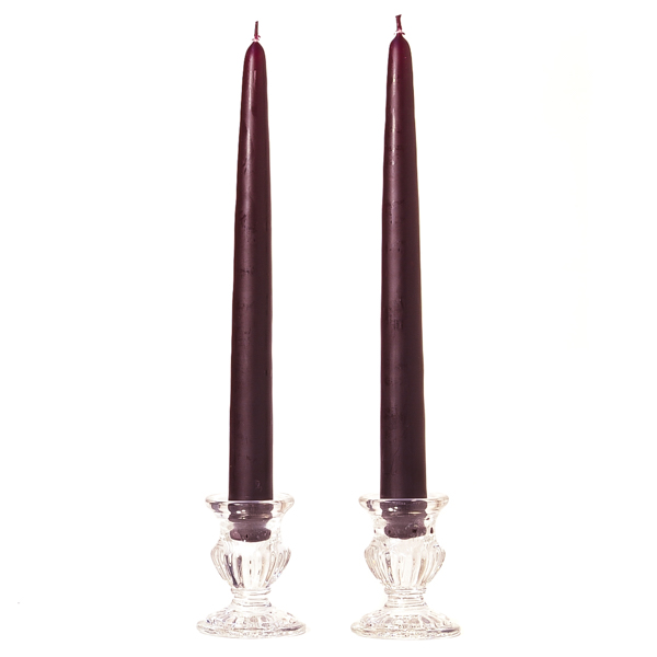 Unscented 10 Inch Plum Tapers Pair