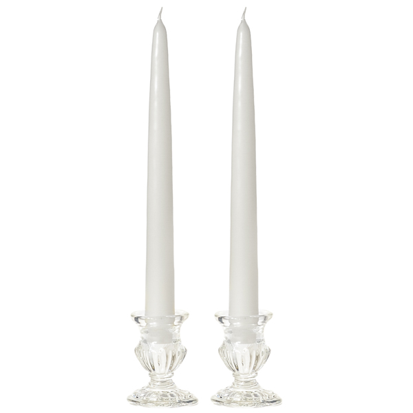 Unscented 15 Inch White Tapers Pair