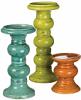 Pillar Holder Set Assorted Colors 3 Piece