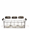Wire Basket With 3 Glass Mason Jars