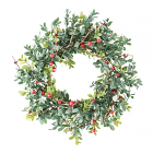 Boxwood Berry Candle Ring 6.5 Inch