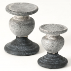Two Tone Gray Candle Holder Set of 2