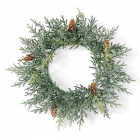 Frosted Arborvitae Candle Ring 6.5 Inch