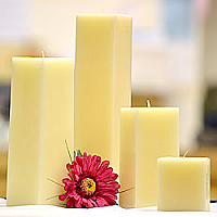 Ivory Square Candles 3 Inch