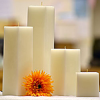 White Square Candles 6 Inch
