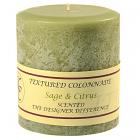 Textured 4x4 Sage and Citrus Pillar Candles