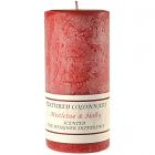 Textured 4x9 Mistletoe and Holly Pillar Candles