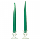Unscented 12 Inch Forest Green Tapers