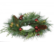 Pine and Mixed Ornaments Candle Rings 4.5 Inch