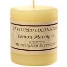 Textured 3x3 Lemon Meringue Pillar Candles