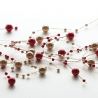 Beaded Garland Pearl Red and Brown