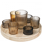 8 Piece Round Wooden Votive Tray Set