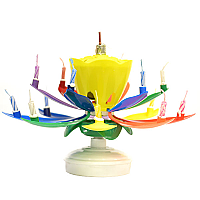 Musical Flower Birthday Candles Rainbow Yellow Bud