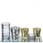 11 Inch Metallic Votive Cups and Mirror