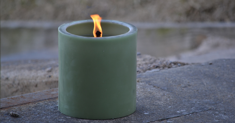 burning outdoor candle